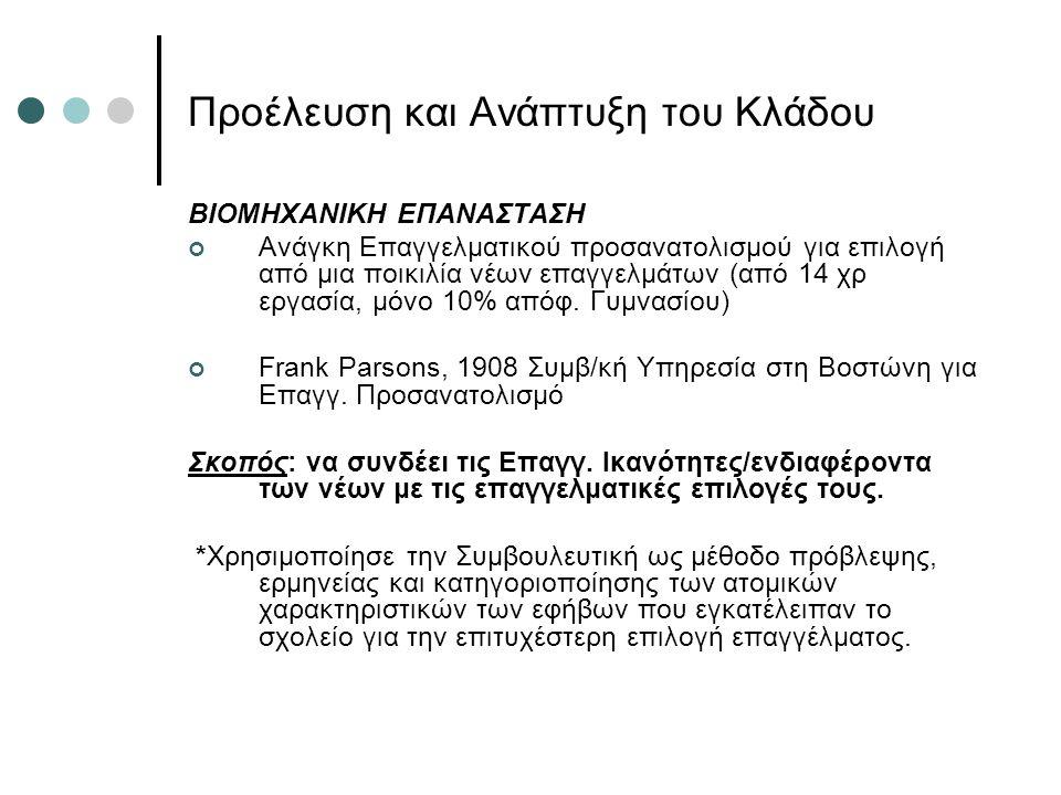 Προέλευση και Ανάπτυξη του Κλάδου BIOMHXANIKH EΠΑΝΑΣΤΑΣΗ Ανάγκη Επαγγελματικού προσανατολισμού για επιλογή από μια ποικιλία νέων επαγγελμάτων (από 14 χρ εργασία, μόνο 10% απόφ.