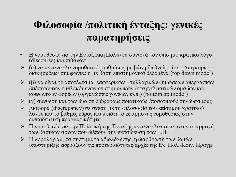 Φιλοσοφία /πολιτική ένταξης: γενικές παρατηρήσεις Η νομοθεσία για την Ενταξιακή Πολιτική συνιστά τον επίσημο κρατικό λόγο (discourse) και πιθανόν:  (