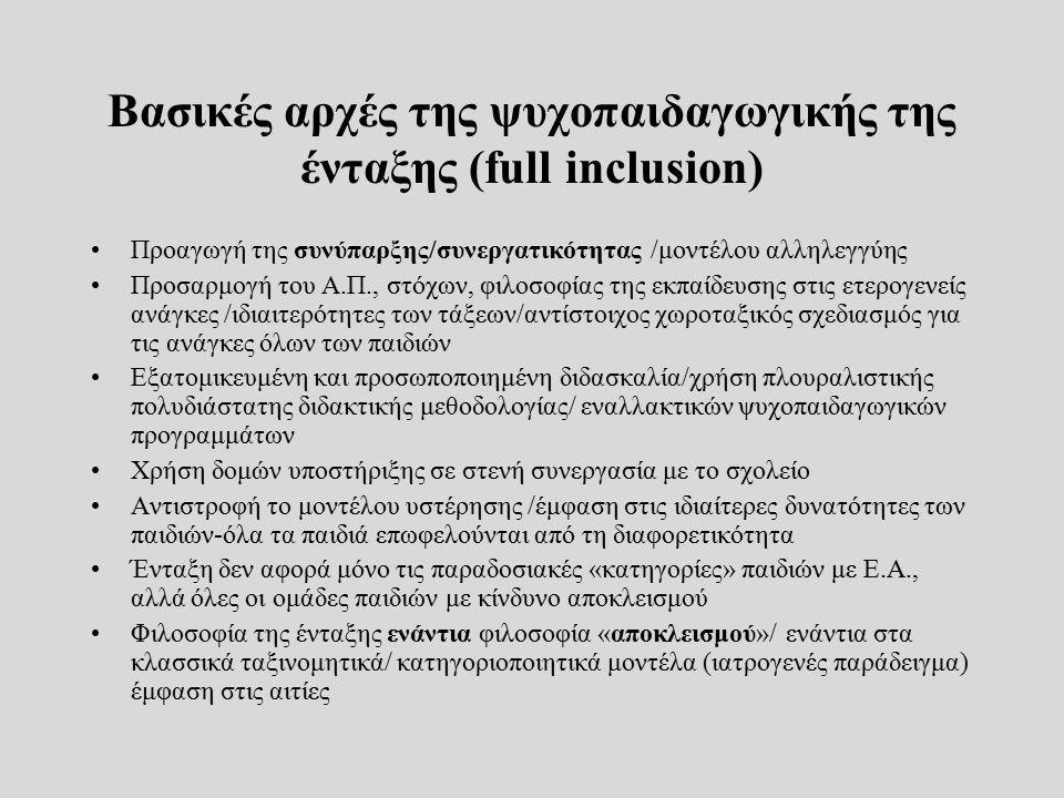 Βασικές αρχές της ψυχοπαιδαγωγικής της ένταξης (full inclusion) Προαγωγή της συνύπαρξης/συνεργατικότητας /μοντέλου αλληλεγγύης Προσαρμογή του Α.Π., στ