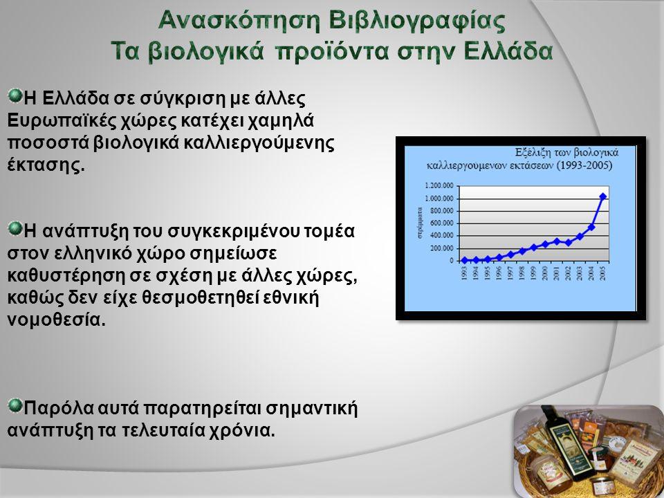 Η Ελλάδα σε σύγκριση με άλλες Ευρωπαϊκές χώρες κατέχει χαμηλά ποσοστά βιολογικά καλλιεργούμενης έκτασης.