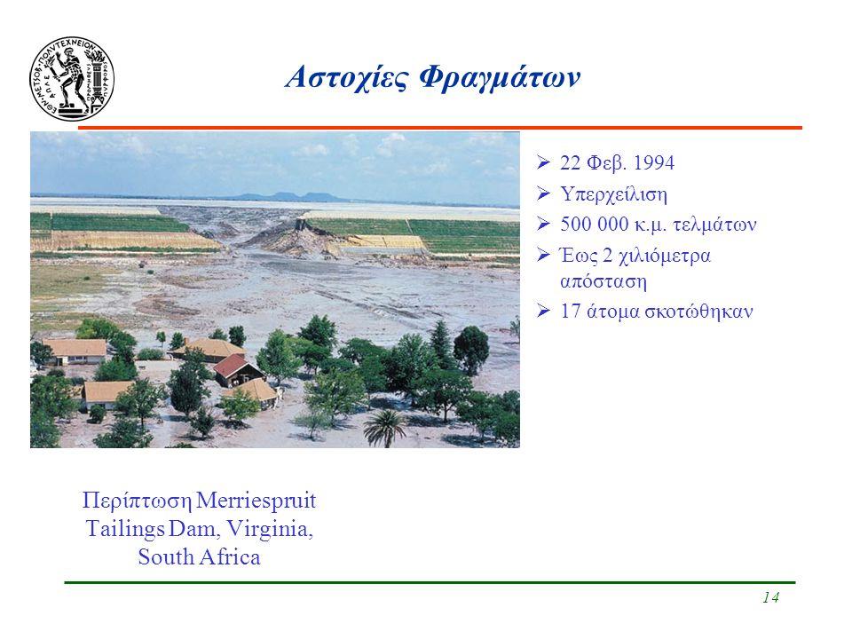 14 Αστοχίες Φραγμάτων Περίπτωση Merriespruit Tailings Dam, Virginia, South Africa  22 Φεβ. 1994  Υπερχείλιση  500 000 κ.μ. τελμάτων  Έως 2 χιλιόμε