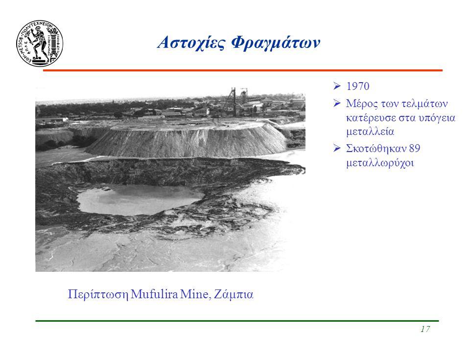 18 Αστοχίες Φραγμάτων Περίπτωση Mufulira Mine, Ζάμπια  1970  Μέρος των τελμάτων κατέρευσε στα υπόγεια μεταλλεία  Σκοτώθηκαν 89 μεταλλωρύχοι