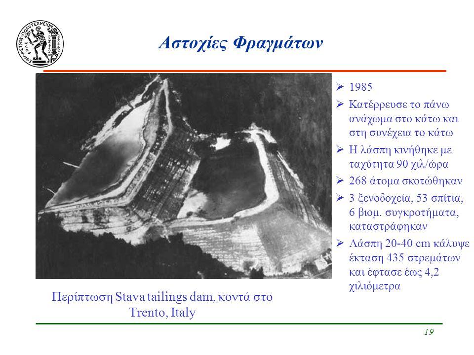 19 Αστοχίες Φραγμάτων Περίπτωση Stava tailings dam, κοντά στο Trento, Italy  1985  Κατέρρευσε το πάνω ανάχωμα στο κάτω και στη συνέχεια το κάτω  Η