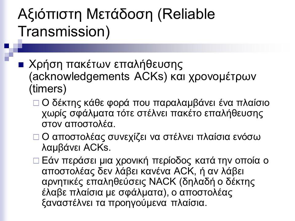 Αξιόπιστη Μετάδοση (Reliable Transmission) Χρήση πακέτων επαλήθευσης (acknowledgements ACKs) και χρονομέτρων (timers)  Ο δέκτης κάθε φορά που παραλαμβάνει ένα πλαίσιο χωρίς σφάλματα τότε στέλνει πακέτο επαλήθευσης στον αποστολέα.