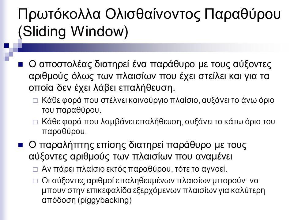 Πρωτόκολλα Ολισθαίνοντος Παραθύρου (Sliding Window) Ο αποστολέας διατηρεί ένα παράθυρο με τους αύξοντες αριθμούς όλως των πλαισίων που έχει στείλει και για τα οποία δεν έχει λάβει επαλήθευση.