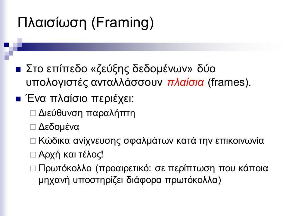 Πλαισίωση (Framing) Στο επίπεδο «ζεύξης δεδομένων» δύο υπολογιστές ανταλλάσσουν πλαίσια (frames).