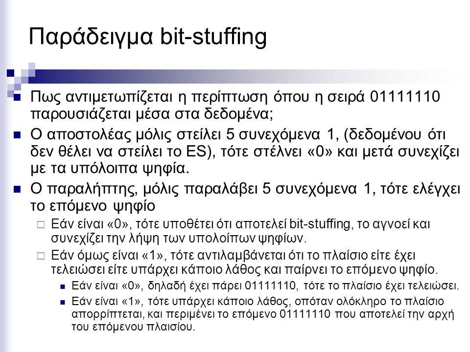 Παράδειγμα bit-stuffing Πως αντιμετωπίζεται η περίπτωση όπου η σειρά 01111110 παρουσιάζεται μέσα στα δεδομένα; Ο αποστολέας μόλις στείλει 5 συνεχόμενα 1, (δεδομένου ότι δεν θέλει να στείλει το ES), τότε στέλνει «0» και μετά συνεχίζει με τα υπόλοιπα ψηφία.