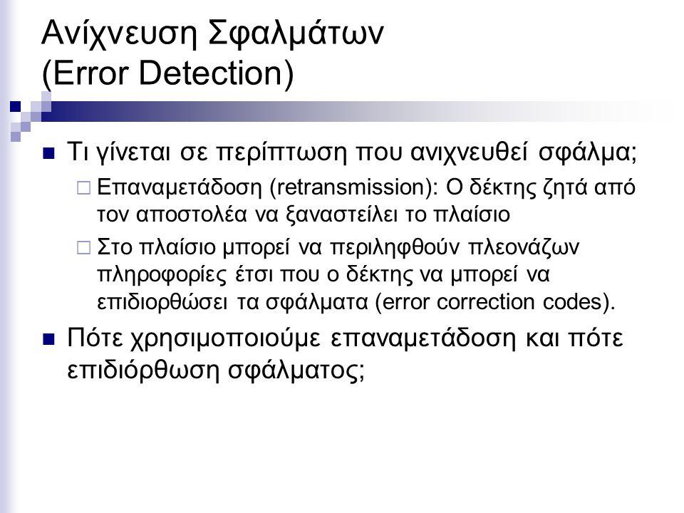 Ανίχνευση Σφαλμάτων (Error Detection) Τι γίνεται σε περίπτωση που ανιχνευθεί σφάλμα;  Επαναμετάδοση (retransmission): Ο δέκτης ζητά από τον αποστολέα να ξαναστείλει το πλαίσιο  Στο πλαίσιο μπορεί να περιληφθούν πλεονάζων πληροφορίες έτσι που ο δέκτης να μπορεί να επιδιορθώσει τα σφάλματα (error correction codes).