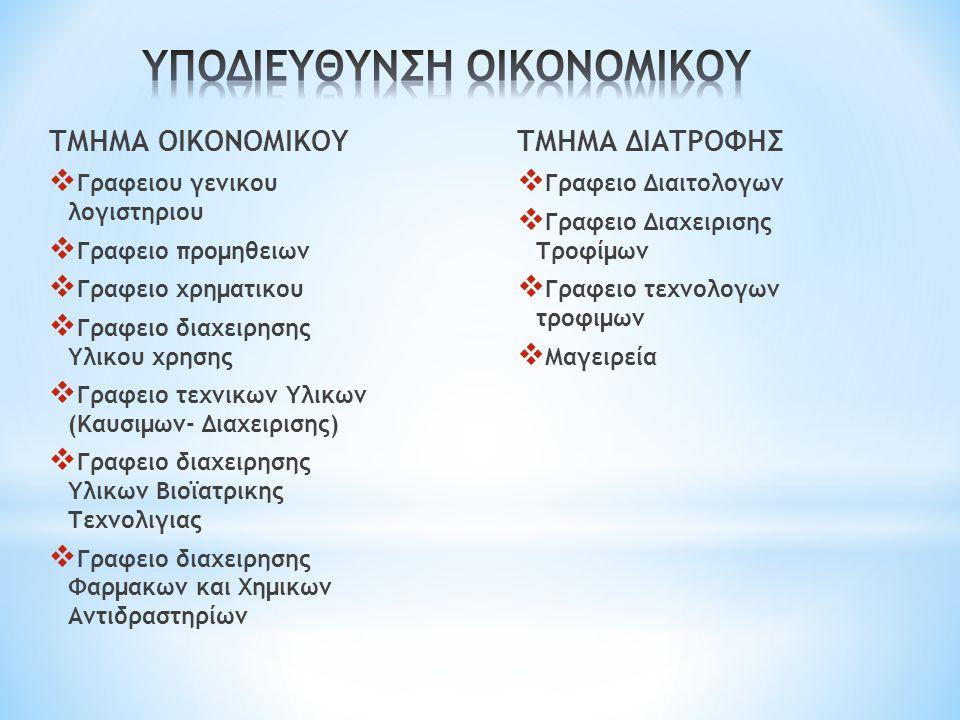 ΤΜΗΜΑ ΟΙΚΟΝΟΜΙΚΟΥ  Γραφειου γενικου λογιστηριου  Γραφειο προμηθειων  Γραφειο χρηματικου  Γραφειο διαχειρησης Υλικου χρησης  Γραφειο τεχνικων Υλικων (Καυσιμων- Διαχειρισης)  Γραφειο διαχειρησης Υλικων Βιοϊατρικης Τεχνολιγιας  Γραφειο διαχειρησης Φαρμακων και Χημικων Αντιδραστηρίων ΤΜΗΜΑ ΔΙΑΤΡΟΦΗΣ  Γραφειο Διαιτολογων  Γραφειο Διαχειρισης Τροφίμων  Γραφειο τεχνολογων τροφιμων  Μαγειρεία