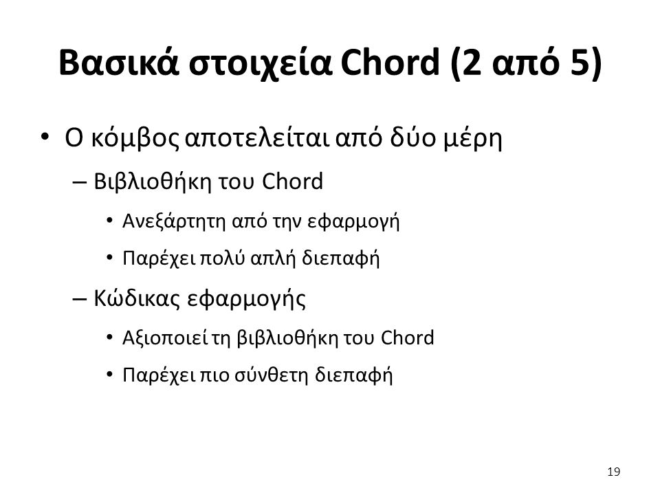Βασικά στοιχεία Chord (2 από 5) Ο κόμβος αποτελείται από δύο μέρη – Βιβλιοθήκη του Chord Ανεξάρτητη από την εφαρμογή Παρέχει πολύ απλή διεπαφή – Κώδικ