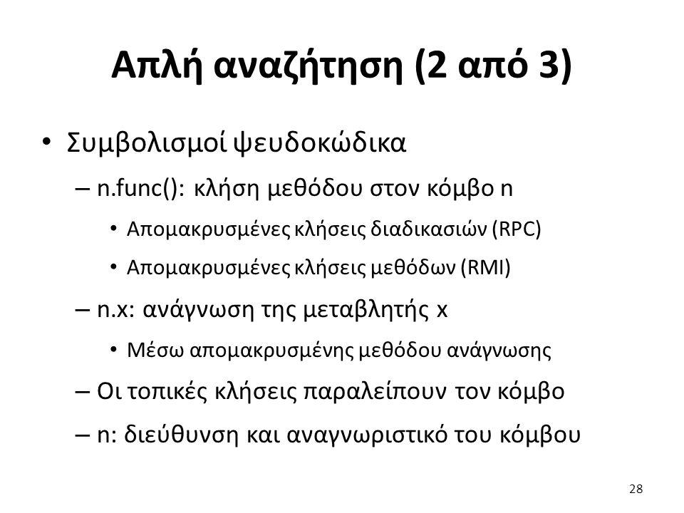Απλή αναζήτηση (2 από 3) Συμβολισμοί ψευδοκώδικα – n.func(): κλήση μεθόδου στον κόμβο n Απομακρυσμένες κλήσεις διαδικασιών (RPC) Απομακρυσμένες κλήσει