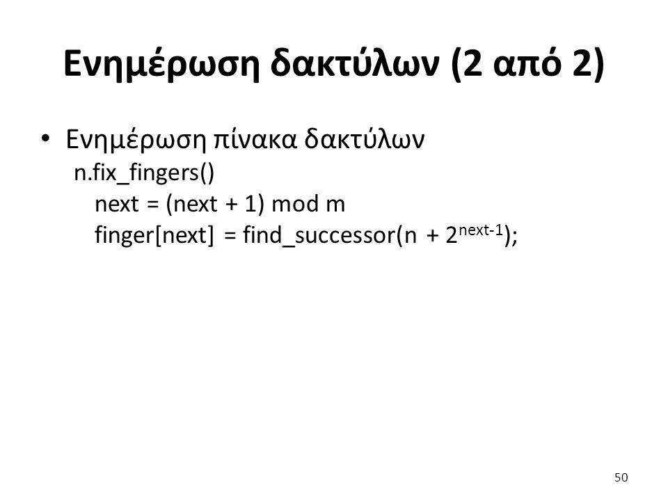 Ενημέρωση δακτύλων (2 από 2) Ενημέρωση πίνακα δακτύλων n.fix_fingers() next = (next + 1) mod m finger[next] = find_successor(n + 2 next-1 ); 50