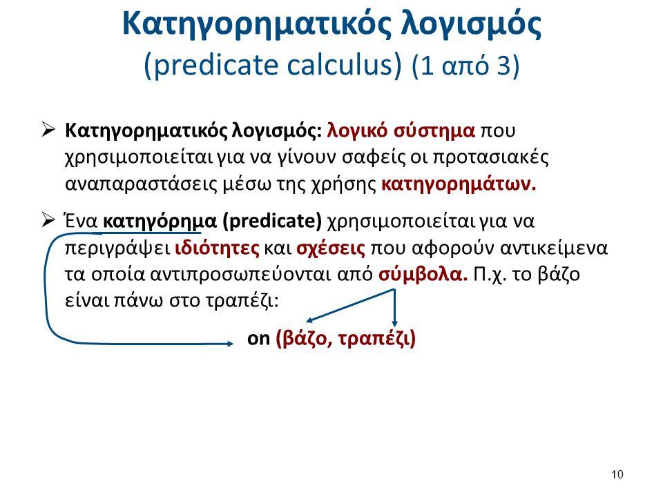 Κατηγορηματικός λογισμός (predicate calculus) (1 από 3)  Κατηγορηματικός λογισμός: λογικό σύστημα που χρησιμοποιείται για να γίνουν σαφείς οι προτασι