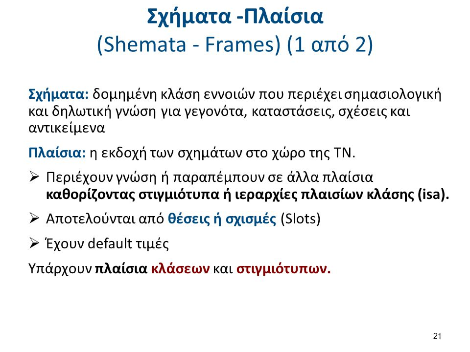 Σχήματα -Πλαίσια (Shemata - Frames) (1 από 2) Σχήματα: δομημένη κλάση εννοιών που περιέχει σημασιολογική και δηλωτική γνώση για γεγονότα, καταστάσεις,