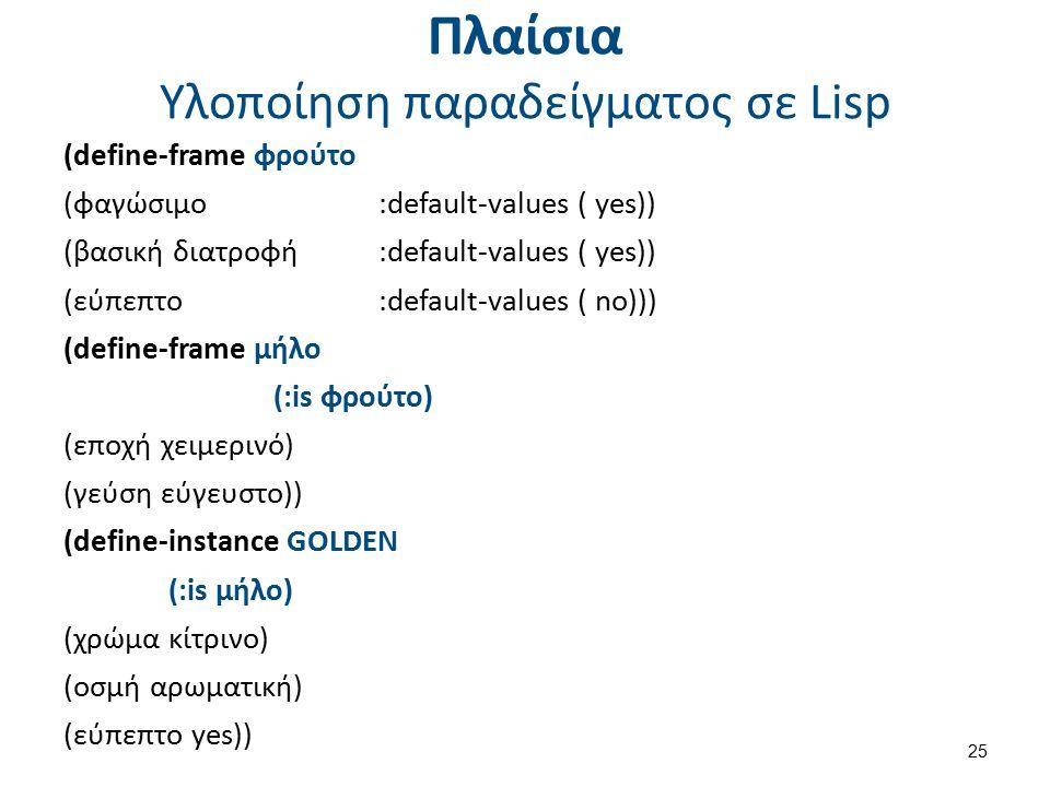Πλαίσια Υλοποίηση παραδείγματος σε Lisp (define-frame φρούτο (φαγώσιμο :default-values ( yes)) (βασική διατροφή :default-values ( yes)) (εύπεπτο :defa