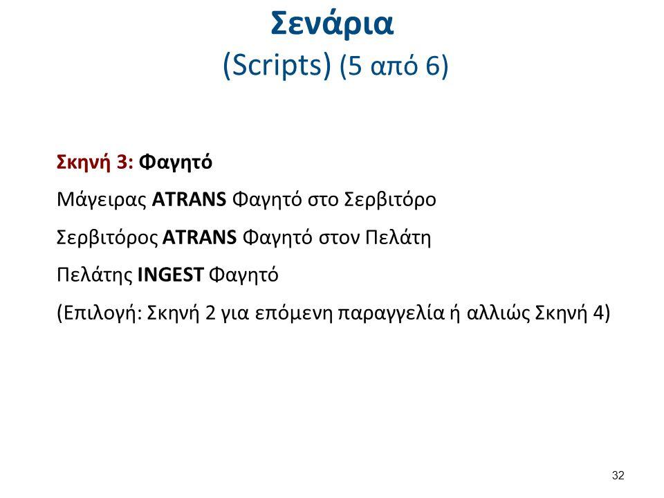 Σενάρια (Scripts) (5 από 6) Σκηνή 3: Φαγητό Μάγειρας ΑTRANS Φαγητό στο Σερβιτόρο Σερβιτόρος ΑTRANS Φαγητό στον Πελάτη Πελάτης INGEST Φαγητό (Επιλογή: