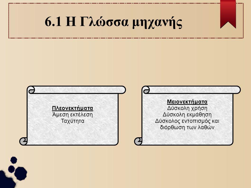 6.1 Συμβολικές Γλώσσες ή Γλώσσες Χαμηλού Επιπέδου Εντολές: συντομογραφίες λέξεων της Αγγλικής Γλώσσας Στενά συνδεδεμένες με την αρχιτεκτονική του υπολογιστή.