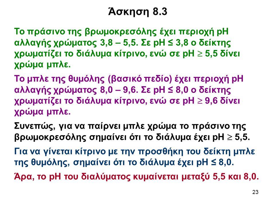 23 Το πράσινο της βρωμοκρεσόλης έχει περιοχή pH αλλαγής χρώματος 3,8 – 5,5. Σε pH ≤ 3,8 ο δείκτης χρωματίζει το διάλυμα κίτρινο, ενώ σε pH  5,5 δίνει