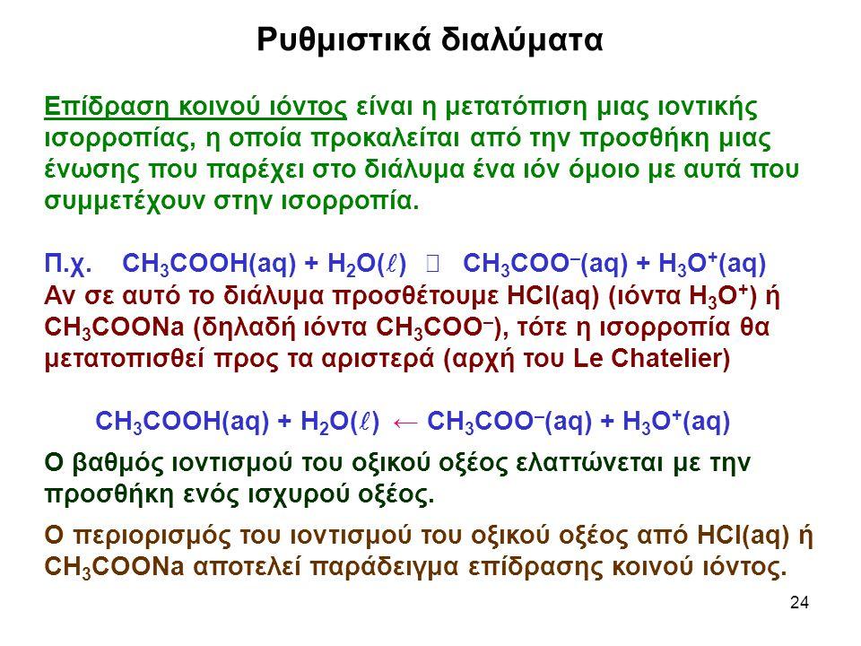 24 Επίδραση κοινού ιόντος είναι η μετατόπιση μιας ιοντικής ισορροπίας, η οποία προκαλείται από την προσθήκη μιας ένωσης που παρέχει στο διάλυμα ένα ιόν όμοιο με αυτά που συμμετέχουν στην ισορροπία.