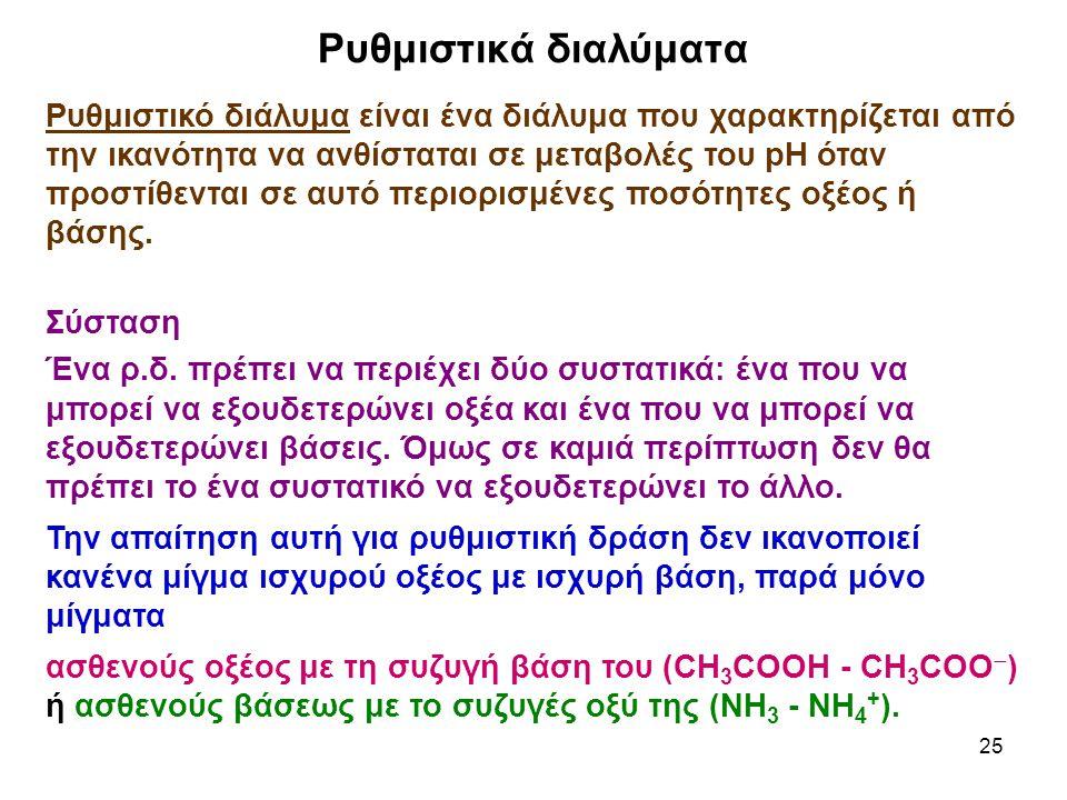 25 Ρυθμιστικό διάλυμα είναι ένα διάλυμα που χαρακτηρίζεται από την ικανότητα να ανθίσταται σε μεταβολές του pH όταν προστίθενται σε αυτό περιορισμένες ποσότητες οξέος ή βάσης.