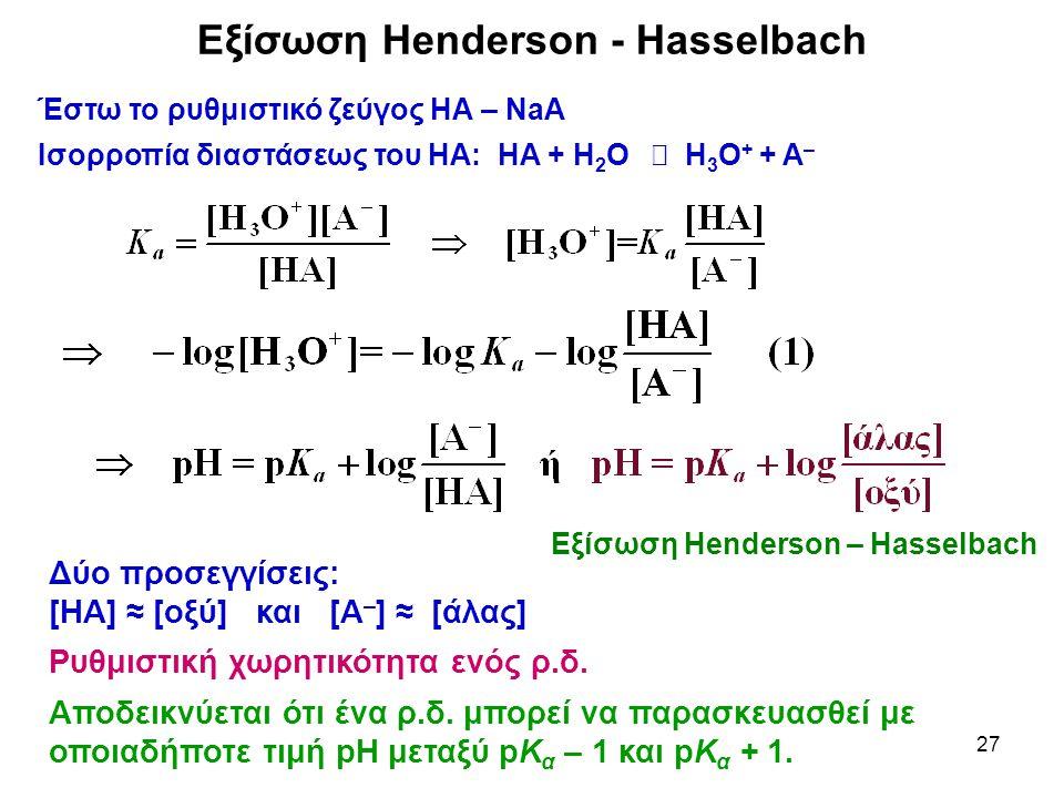 27 Εξίσωση Henderson - Hasselbach Έστω το ρυθμιστικό ζεύγος ΗΑ – NaΑ Ισορροπία διαστάσεως του ΗΑ: ΗΑ + Η 2 Ο  Η 3 Ο + + Α – Δύο προσεγγίσεις: [ΗΑ] ≈ [οξύ] και [Α – ] ≈ [άλας] Ρυθμιστική χωρητικότητα ενός ρ.δ.