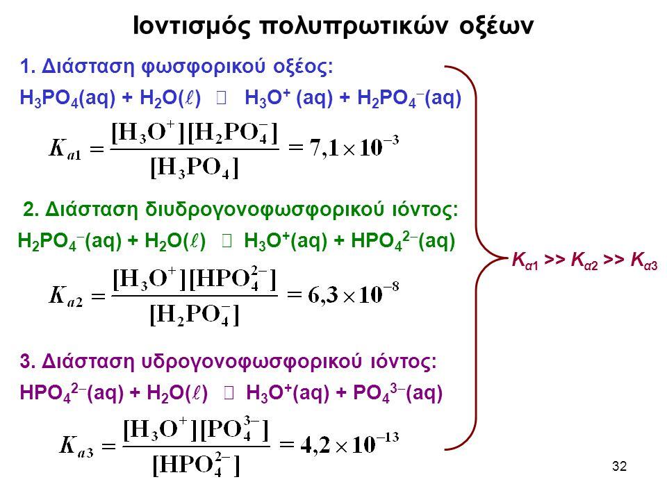 32 Ιοντισμός πολυπρωτικών οξέων 1. Διάσταση φωσφορικού οξέος: Η 3 ΡΟ 4 (aq) + Η 2 Ο( )  Η 3 Ο + (aq) + Η 2 ΡΟ 4  (aq) 2. Διάσταση διυδρογονοφωσφορικ