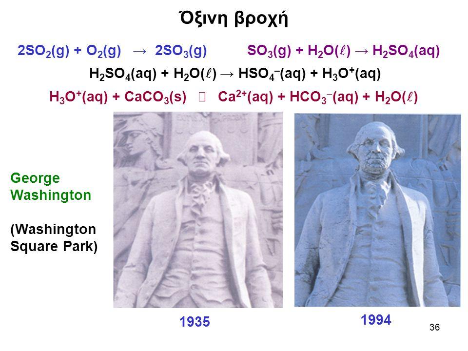36 Όξινη βροχή 2SO 2 (g) + O 2 (g) → 2SO 3 (g) SO 3 (g) + H 2 O( ) → H 2 SO 4 (aq) H 2 SO 4 (aq) + H 2 O( ) → HSO 4 – (aq) + Η 3 Ο + (aq) H 3 O + (aq) + CaCO 3 (s)  Ca 2+ (aq) + HCΟ 3  (aq) + Η 2 Ο( ) 1994 George Washington (Washington Square Park) 1935