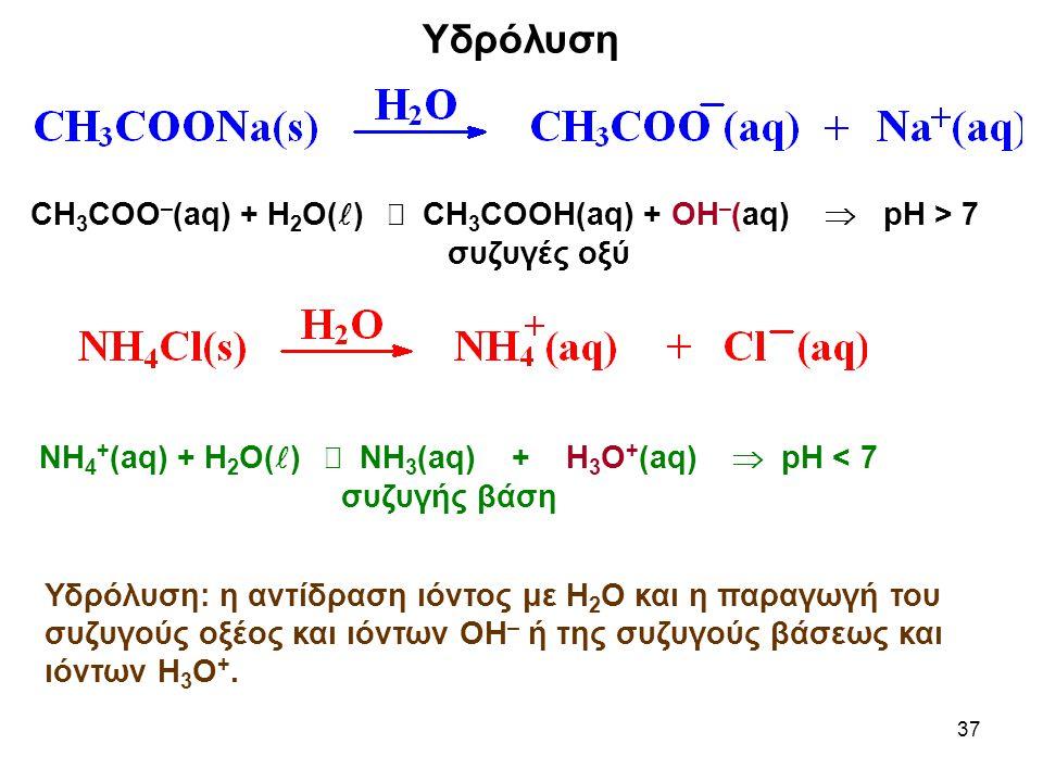 37 Υδρόλυση CH 3 COO – (aq) + H 2 O( )  CH 3 COOH(aq) + OH – (aq)  pH > 7 συζυγές οξύ ΝΗ 4 + (aq) + H 2 O( )  ΝΗ 3 (aq) + Η 3 Ο + (aq)  pH < 7 συζυγής βάση Υδρόλυση: η αντίδραση ιόντος με Η 2 Ο και η παραγωγή του συζυγούς οξέος και ιόντων ΟΗ – ή της συζυγούς βάσεως και ιόντων Η 3 Ο +.