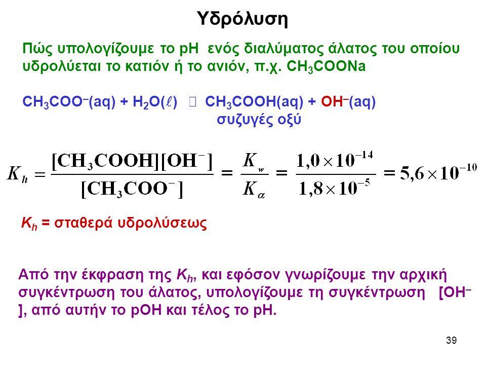 39 Υδρόλυση Πώς υπολογίζουμε το pH ενός διαλύματος άλατος του οποίου υδρολύεται το κατιόν ή το ανιόν, π.χ. CH 3 COONa CH 3 COO – (aq) + H 2 O( )  CH