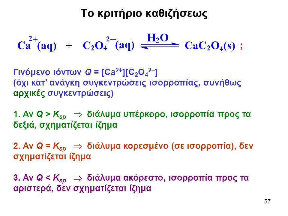 57 Το κριτήριο καθιζήσεως Γινόμενο ιόντων Q = [Ca 2+ ][C 2 O 4 2– ] (όχι κατ' ανάγκη συγκεντρώσεις ισορροπίας, συνήθως αρχικές συγκεντρώσεις) 1. Αν Q