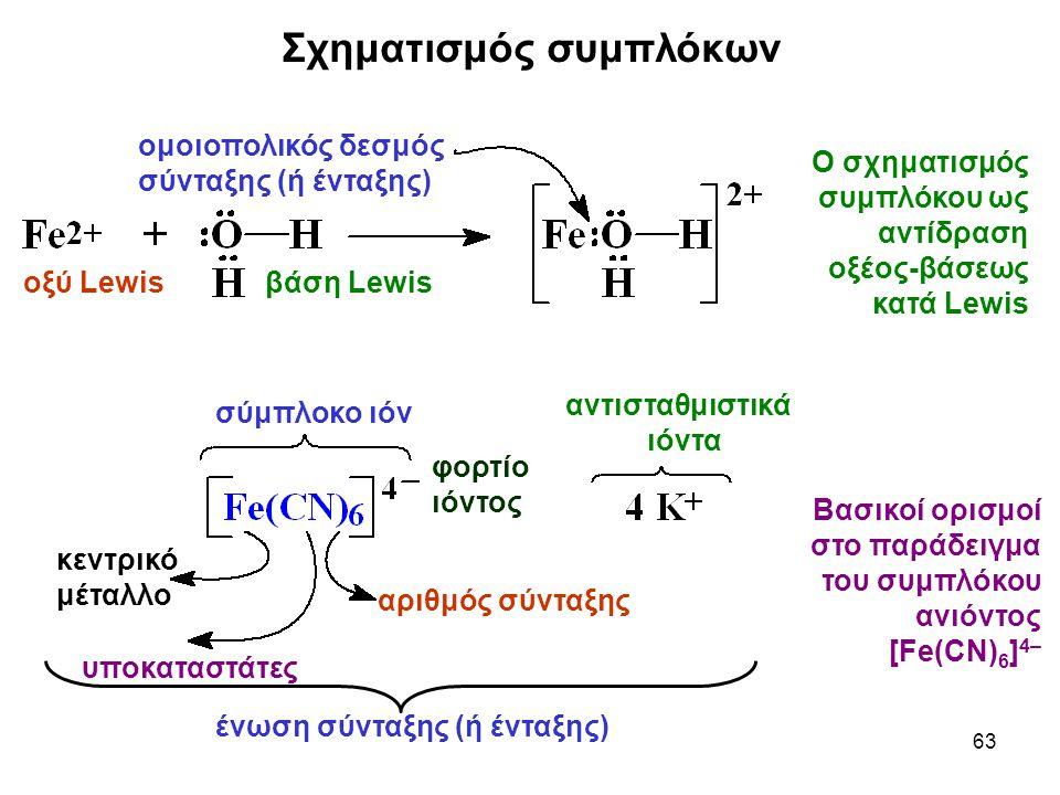 63 σύμπλοκο ιόν αντισταθμιστικά ιόντα αριθμός σύνταξης φορτίο ιόντος υποκαταστάτες κεντρικό μέταλλο ένωση σύνταξης (ή ένταξης) ομοιοπολικός δεσμός σύνταξης (ή ένταξης) οξύ Lewisβάση Lewis Ο σχηματισμός συμπλόκου ως αντίδραση οξέος-βάσεως κατά Lewis Βασικοί ορισμοί στο παράδειγμα του συμπλόκου ανιόντος [Fe(CN) 6 ] 4– Σχηματισμός συμπλόκων
