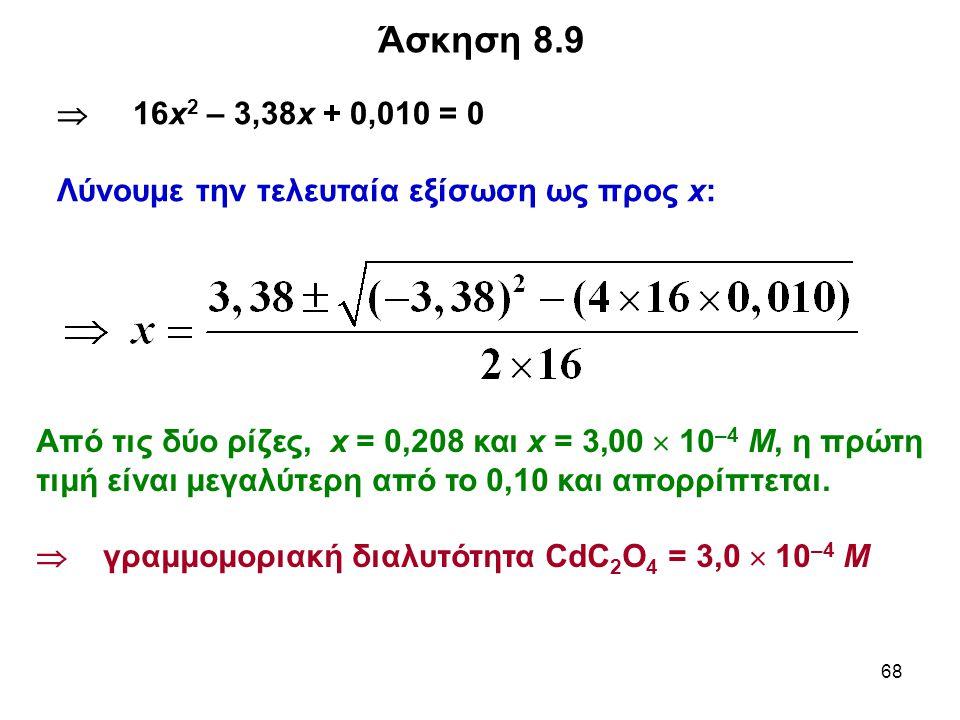 68 Άσκηση 8.9  16x 2 – 3,38x + 0,010 = 0 Λύνουμε την τελευταία εξίσωση ως προς x: Από τις δύο ρίζες, x = 0,208 και x = 3,00  10 –4 M, η πρώτη τιμή είναι μεγαλύτερη από το 0,10 και απορρίπτεται.
