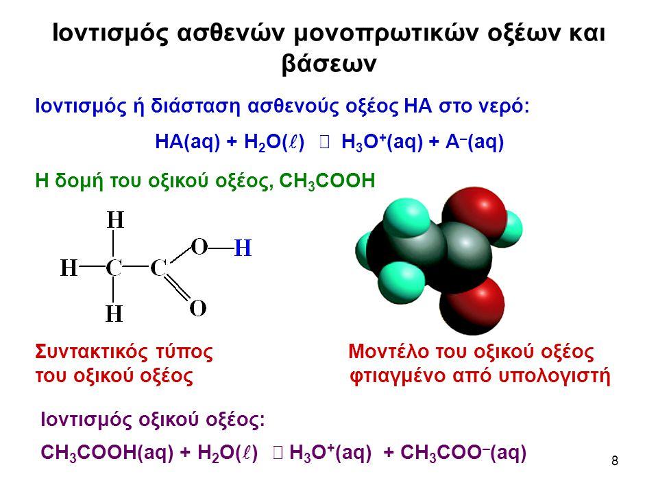 8 Ιοντισμός ασθενών μονοπρωτικών οξέων και βάσεων Ιοντισμός ή διάσταση ασθενούς οξέος ΗΑ στο νερό: ΗΑ(aq) + Η 2 Ο( )  Η 3 Ο + (aq) + Α – (aq) Η δομή του οξικού οξέος, CH 3 COOH Συντακτικός τύπος Μοντέλο του οξικού οξέος του οξικού οξέος φτιαγμένο από υπολογιστή Ιοντισμός οξικού οξέος: CH 3 COOH(aq) + H 2 O( )  H 3 O + (aq) + CH 3 COO – (aq)