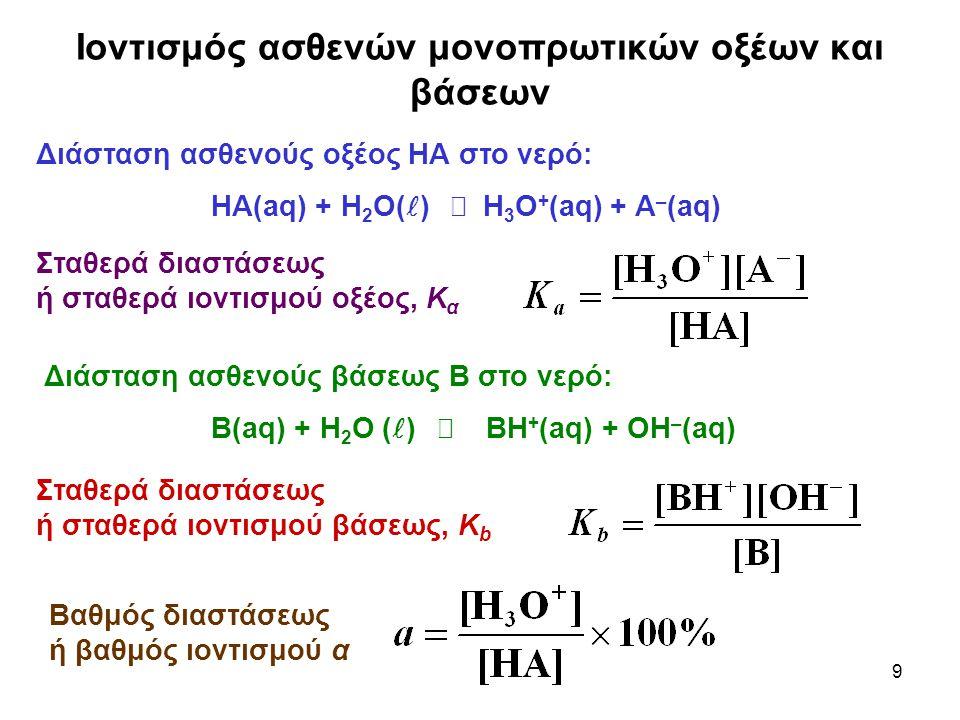 9 Ιοντισμός ασθενών μονοπρωτικών οξέων και βάσεων Διάσταση ασθενούς οξέος ΗΑ στο νερό: ΗΑ(aq) + Η 2 Ο( )  Η 3 Ο + (aq) + Α – (aq) Σταθερά διαστάσεως ή σταθερά ιοντισμού οξέος, Κ α Διάσταση ασθενούς βάσεως Β στο νερό: Β(aq) + Η 2 Ο ( )  ΒΗ + (aq) + ΟΗ – (aq) Σταθερά διαστάσεως ή σταθερά ιοντισμού βάσεως, Κ b Βαθμός διαστάσεως ή βαθμός ιοντισμού α