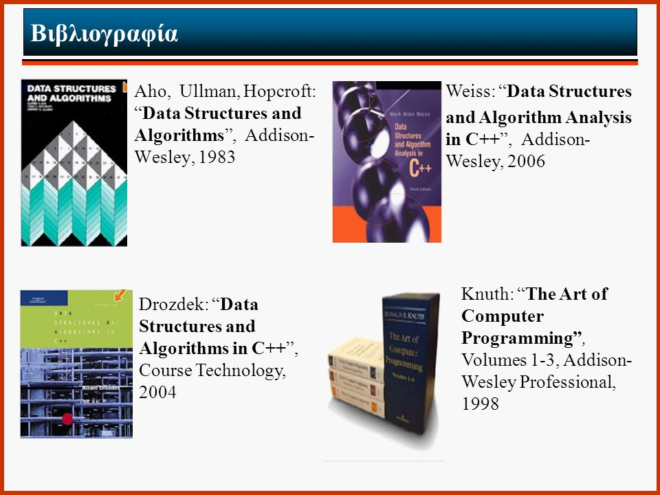"Βιβλιογραφία Aho, Ullman, Hopcroft: ""Data Structures and Algorithms"", Addison- Wesley, 1983 Weiss: ""Data Structures and Algorithm Analysis in C++"", Ad"