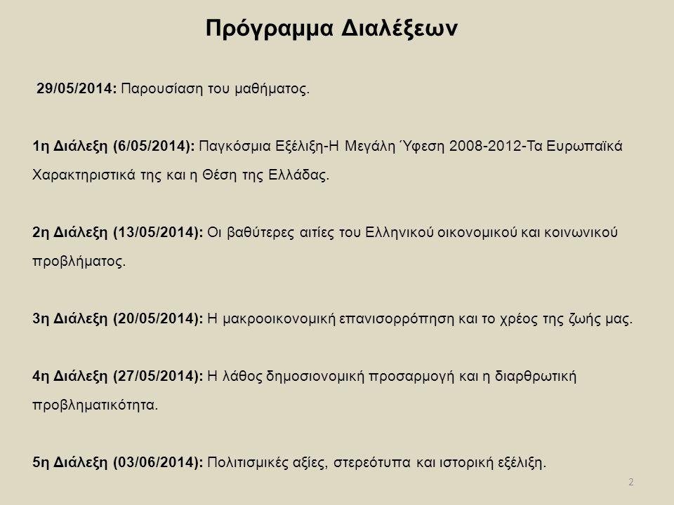 2 Πρόγραμμα Διαλέξεων 29/05/2014: Παρουσίαση του μαθήματος. 1η Διάλεξη (6/05/2014): Παγκόσμια Εξέλιξη-Η Μεγάλη Ύφεση 2008-2012-Τα Ευρωπαϊκά Χαρακτηρισ