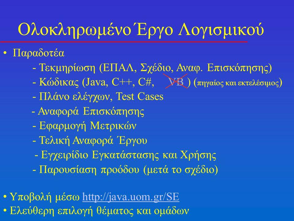Ολοκληρωμένο Έργο Λογισμικού Παραδοτέα - Τεκμηρίωση (ΕΠΑΛ, Σχέδιο, Αναφ.