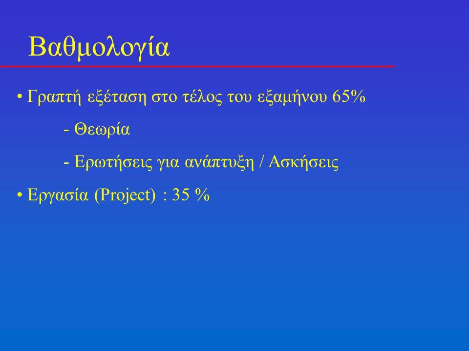 Βαθμολογία Γραπτή εξέταση στο τέλος του εξαμήνου 65% - Θεωρία - Ερωτήσεις για ανάπτυξη / Ασκήσεις Εργασία (Project) : 35 %