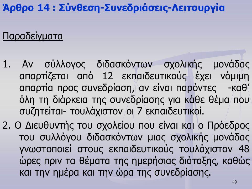 49 Άρθρο 14 : Σύνθεση-Συνεδριάσεις-Λειτουργία Παραδείγματα 1. Αν σύλλογος διδασκόντων σχολικής μονάδας απαρτίζεται από 12 εκπαιδευτικούς έχει νόμιμη α