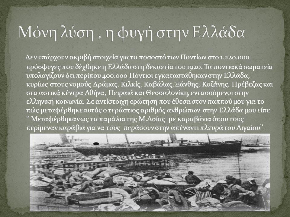 Δεν υπάρχουν ακριβή στοιχεία για το ποσοστό των Ποντίων στο 1.220.000 πρόσφυγες που δέχθηκε η Ελλάδα στη δεκαετία του 1920. Τα ποντιακά σωματεία υπολο