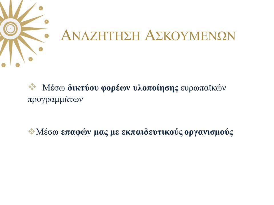 Μέσω δικτύου φορέων υλοποίησης ευρωπαϊκών προγραμμάτων  Μέσω επαφών μας με εκπαιδευτικούς οργανισμούς Α ΝΑΖΗΤΗΣΗ Α ΣΚΟΥΜΕΝΩΝ