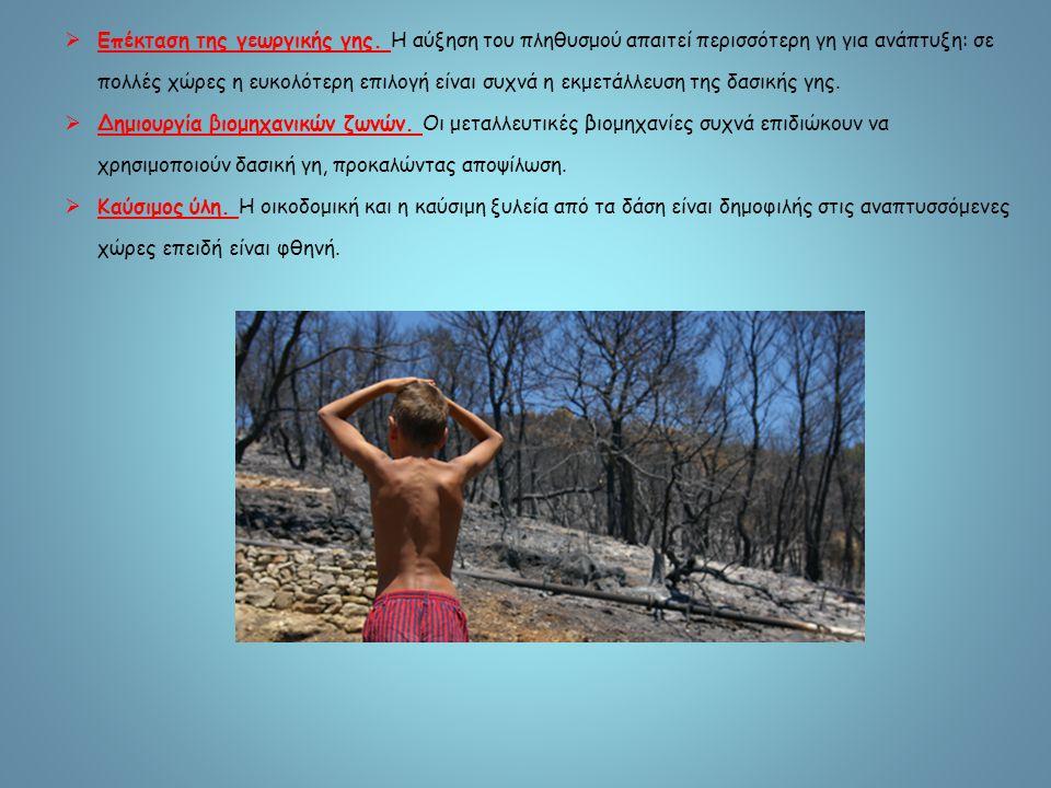 3.Καταστροφή δασών Ένα μεγάλο μέρος της επιφάνειας της γης είναι καλυμμένο με δάση, πολύτιμο πόρο για τον άνθρωπο, τη βιοποικιλότητα, τις εδαφικές και υδατικές συνθήκες και την κατάσταση της ατμόσφαιρας.