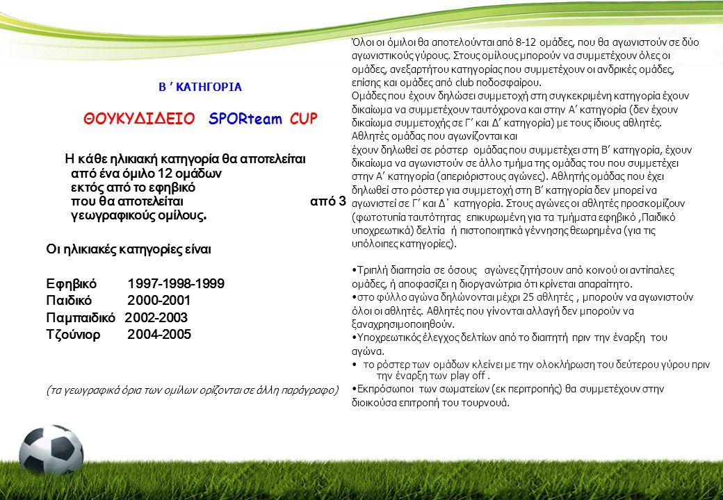 Γ ' ΚΑΤΗΓΟΡΙΑ ΜΠΟΥΡΛΗΣ SPORteam CUP Στην κατηγορία αυτή συμμετέχουν οι παρακάτω ηλικιακές κατηγορίες και κάθε όμιλος θα αποτελείται από 10 ομάδες.