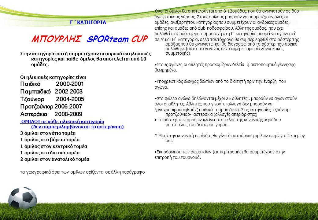 Γ ' ΚΑΤΗΓΟΡΙΑ ΜΠΟΥΡΛΗΣ SPORteam CUP Στην κατηγορία αυτή συμμετέχουν οι παρακάτω ηλικιακές κατηγορίες και κάθε όμιλος θα αποτελείται από 10 ομάδες. Οι