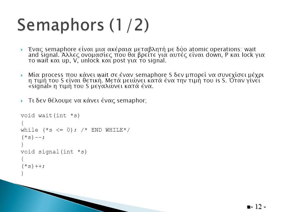  Ένας semaphore είναι μια ακέραια μεταβλητή με δύο atomic operations: wait and signal.