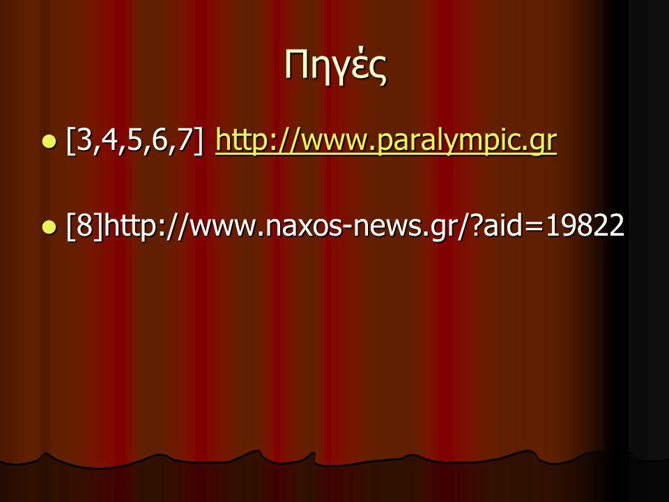 Πηγές [3,4,5,6,7] http://www.paralympic.gr [3,4,5,6,7] http://www.paralympic.grhttp://www.paralympic.gr [8]http://www.naxos-news.gr/?aid=19822 [8]http