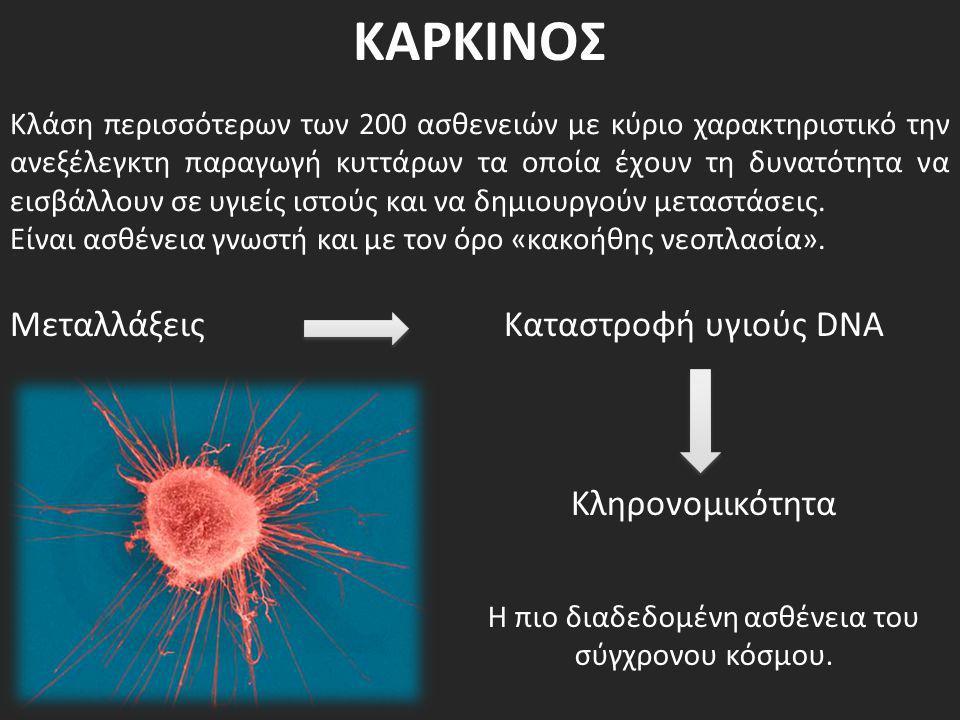 ΚΑΡΚΙΝΟΣ Κλάση περισσότερων των 200 ασθενειών με κύριο χαρακτηριστικό την ανεξέλεγκτη παραγωγή κυττάρων τα οποία έχουν τη δυνατότητα να εισβάλλουν σε
