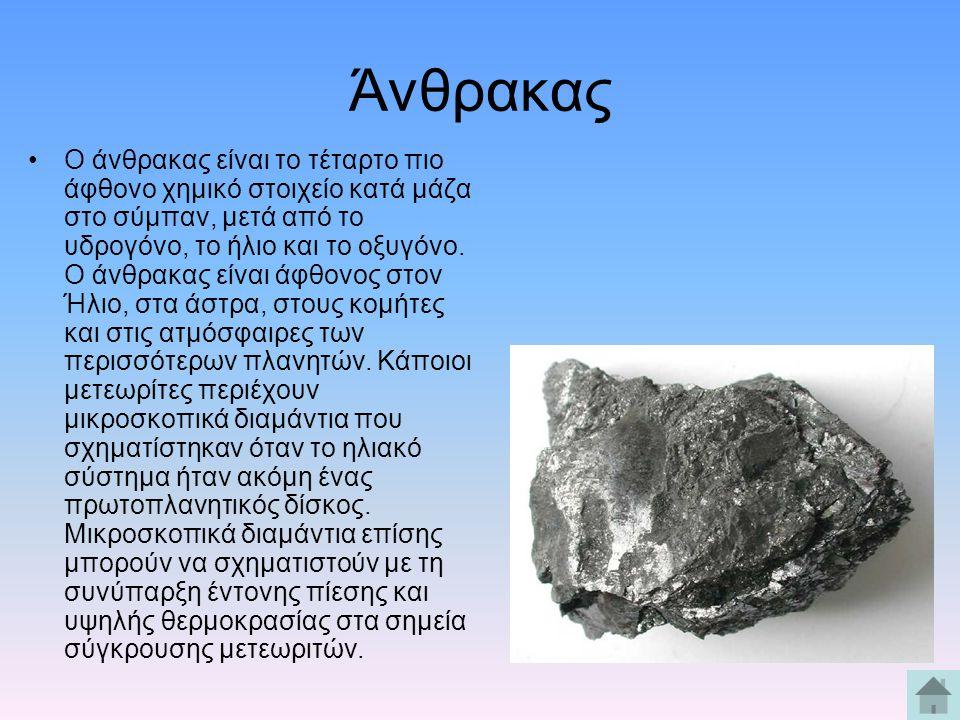 Άνθρακας Ο άνθρακας είναι το τέταρτο πιο άφθονο χημικό στοιχείο κατά μάζα στο σύμπαν, μετά από το υδρογόνο, το ήλιο και το οξυγόνο. Ο άνθρακας είναι ά