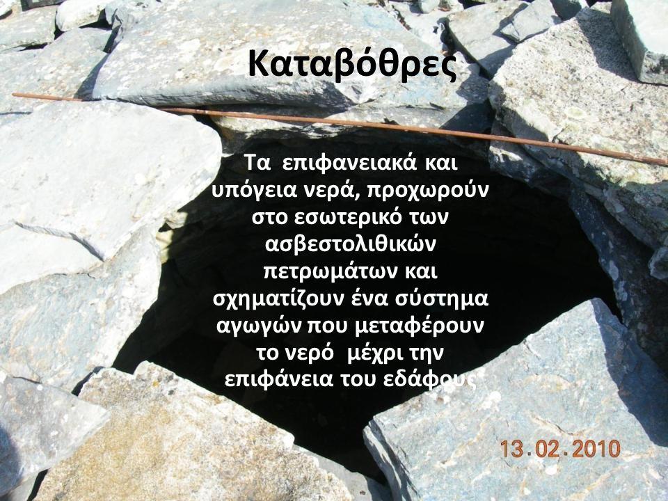 Καταβόθρες Τα επιφανειακά και υπόγεια νερά, προχωρούν στο εσωτερικό των ασβεστολιθικών πετρωμάτων και σχηματίζουν ένα σύστημα αγωγών που μεταφέρουν το νερό μέχρι την επιφάνεια του εδάφους