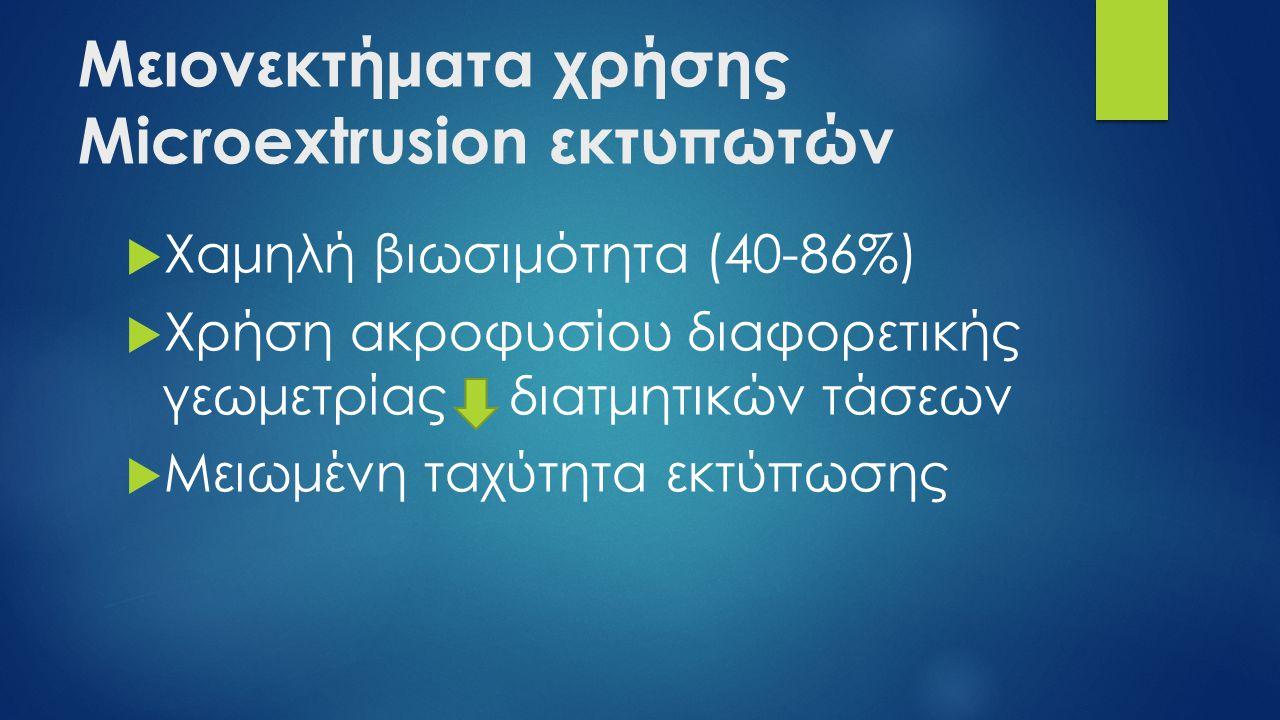 Μειονεκτήματα χρήσης Microextrusion εκτυπωτών  Χαμηλή βιωσιμότητα (40-86%)  Χρήση ακροφυσίου διαφορετικής γεωμετρίας διατμητικών τάσεων  Μειωμένη ταχύτητα εκτύπωσης